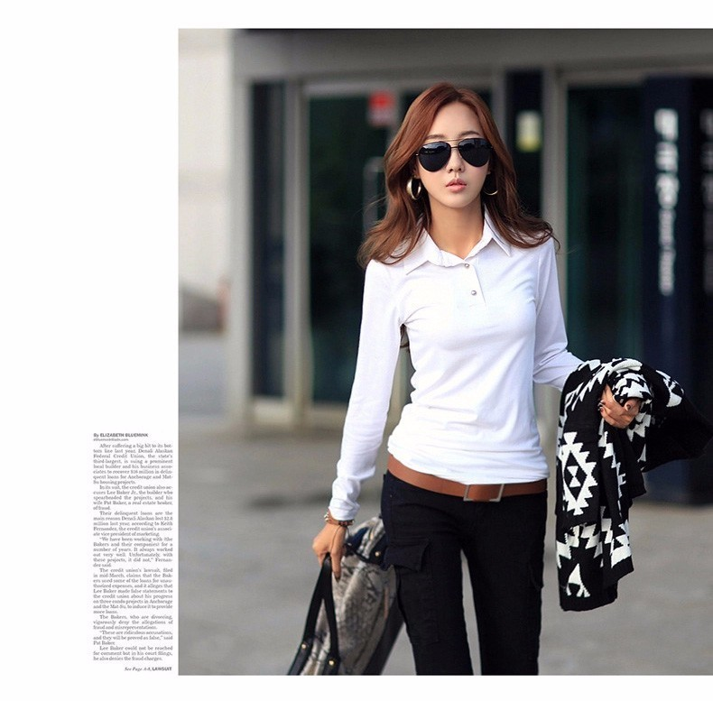 Spring Autumn Casual Polo Women 2016 New Long Sleeve Slim Polos Mujer Black White Red Tops Plus Size Lady Polo Shirt Femme A558 e
