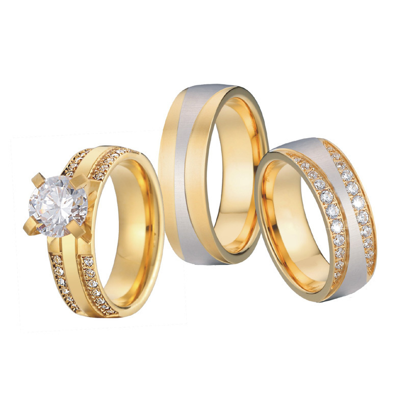 Luxury Gold Color 3 pieces wedding rings set for men and women bridal band Jewelry cz couple engagement rings alliance anel (3)
