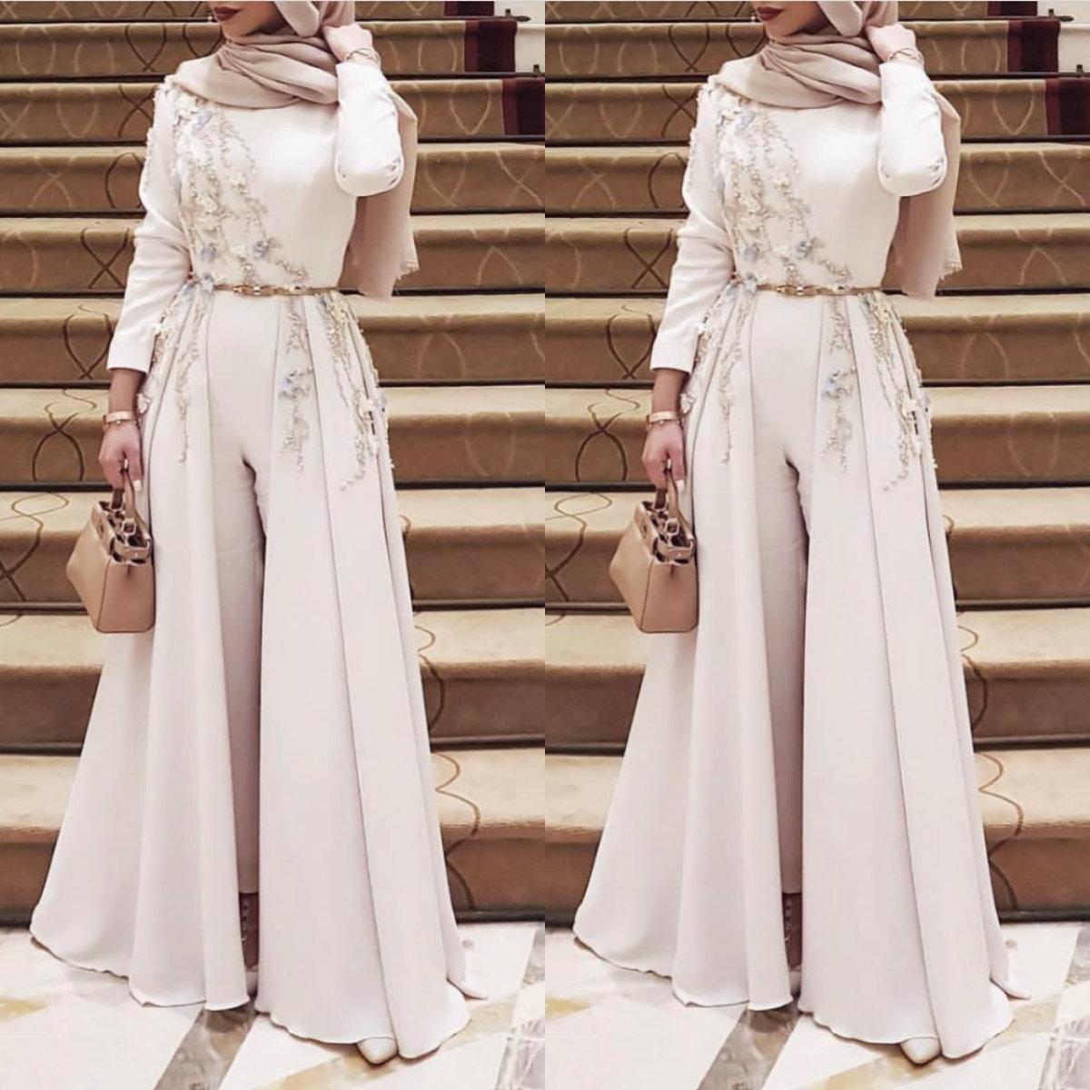 Langarm-muslimische Ballkleider mit Overskirt 10 Appliqued Robe Soiree  Islamischen dubai Hijab Abendkleider Pantsuit formales Kleid