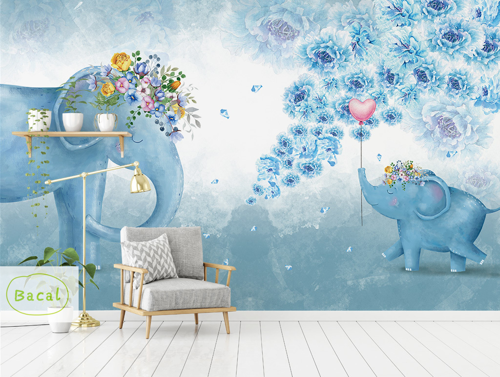 Bacal Cute Animal Kids Room Wall Sticker Animal Theme Elephant Wallpaper Gifts For Children Room Decor Blue 3D Mural Home Decor