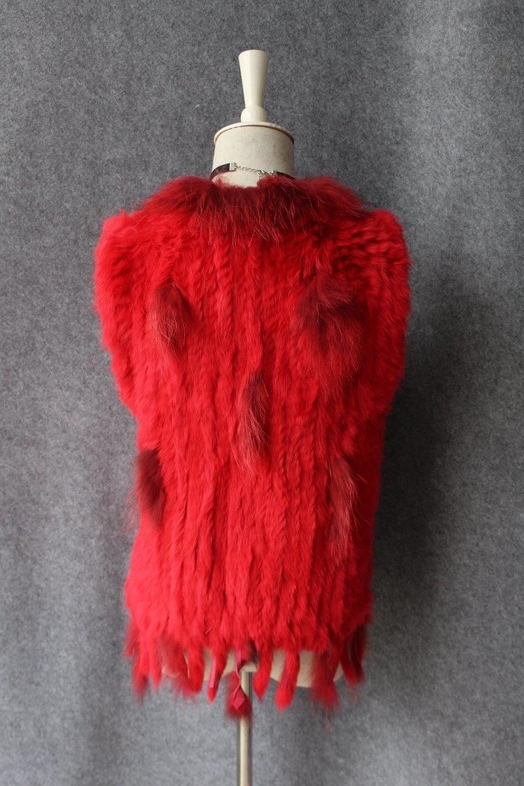 genuine real rabbit fur vest with raccoon fur collar (20)