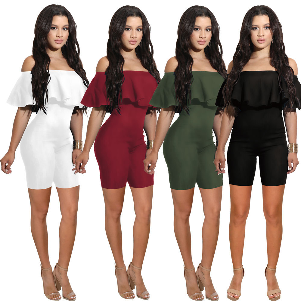 Women Candy Color Loose Off Shoulder Sleeveless Ruffle Tassels Short Jumper Rompers