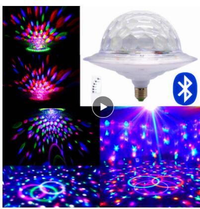 E27 6W LED Rotating RGB Bulb Crystal Ball Light Party Stage DJ Disco Lamp