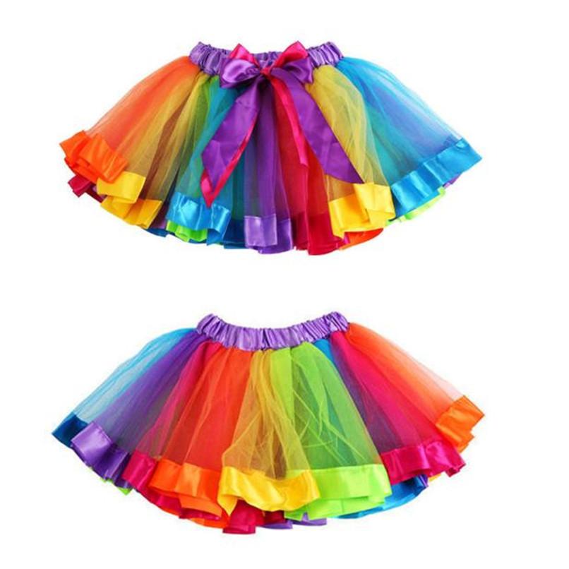 Summer Children Dress Baby Girls Kids Petticoat Rainbow Pettiskirt Bowknot Skirt Tutu Skirts Dance Skirt NDA84L19 (1)