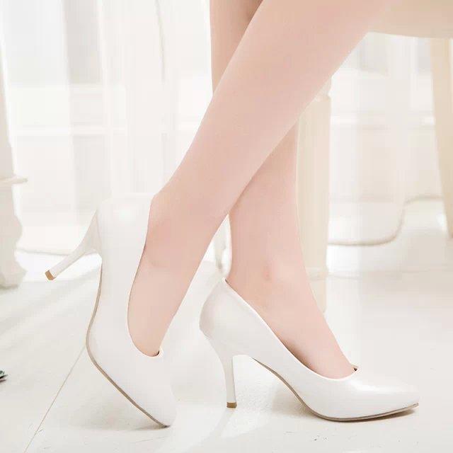 Plus Size 9 10 11 Mulher Sapatos de Salto Alto Bombas Sapatos de Casamento Branco Apontou Toe Bomba Primavera Outono Vestido Sapatos Zapatos Mujer
