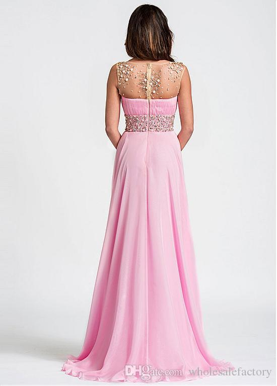 Brilliant Tulle Chiffon Scoop Neckline A-Line Prom Dresses Beaded Rhinestones Sheer Backless Floor Length Formal Party Evening Gowns