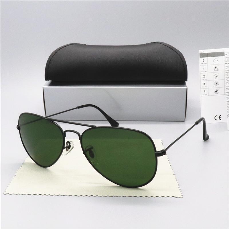 Hot Sale Brand Design Sunglasses Vintage Pilot Brand Sun Glasses Band UV400 Men Women Ben Metal Frame glass Lens with box 3025