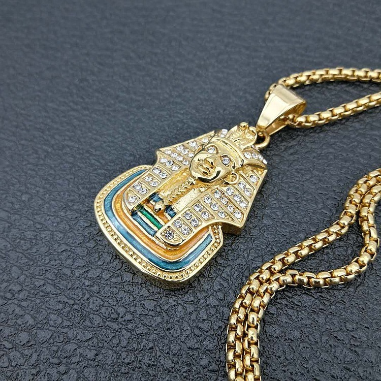 Golden Men Women Charm Rhinestone Egyptian Pharaoh Necklaces Hip Hop Chains Bling Last King Jewelry Gifts Pendants C19041601