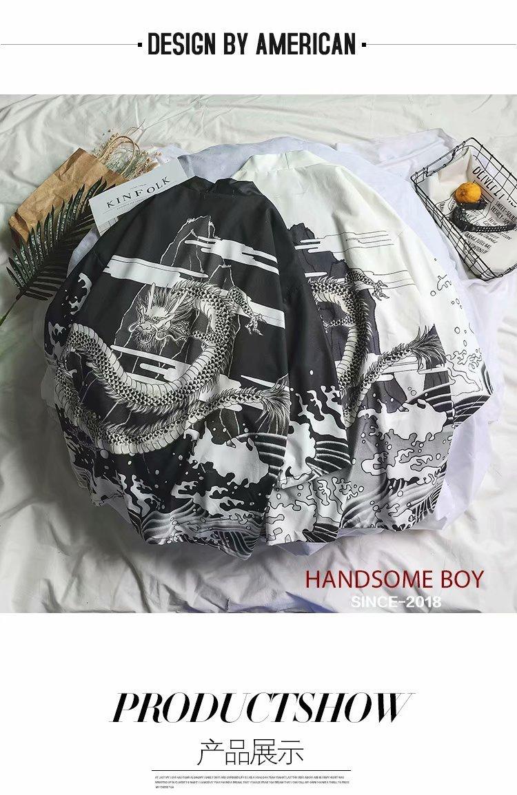 New Japanese Dragon Printed Kimono Jackets 2019 Men Japan Style Harajuku Cardigan Jackets Male Casual Streetwear Outerwear Jk009