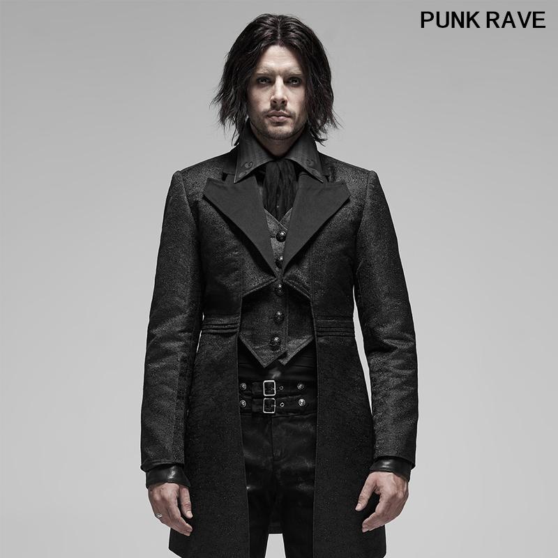 Punk Rave Men Black Vintage Gothic Victorian Trench Coat Party Steampunk Jacket