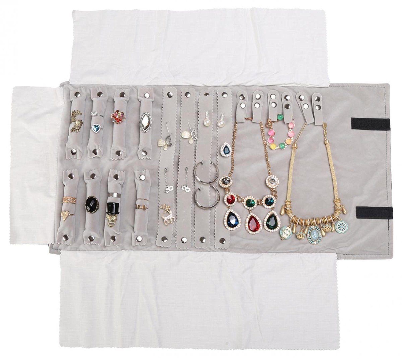 Luxo Propósito Jóias Roll Bag Saco De Armazenamento De Brincos Colar Organizador Do Rolo T190629