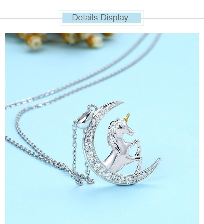 Strollgirl 925 Sterlingsilber Halsketten mit Zirkonia Mond und Pferd Tier …