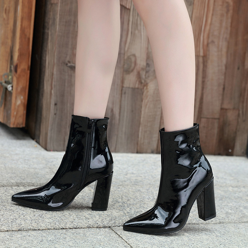 Size 35 To 40 Fashion Black Silver Patent Pu Leather Pointed Chunky Heel Boots Designer Bootie 11cm