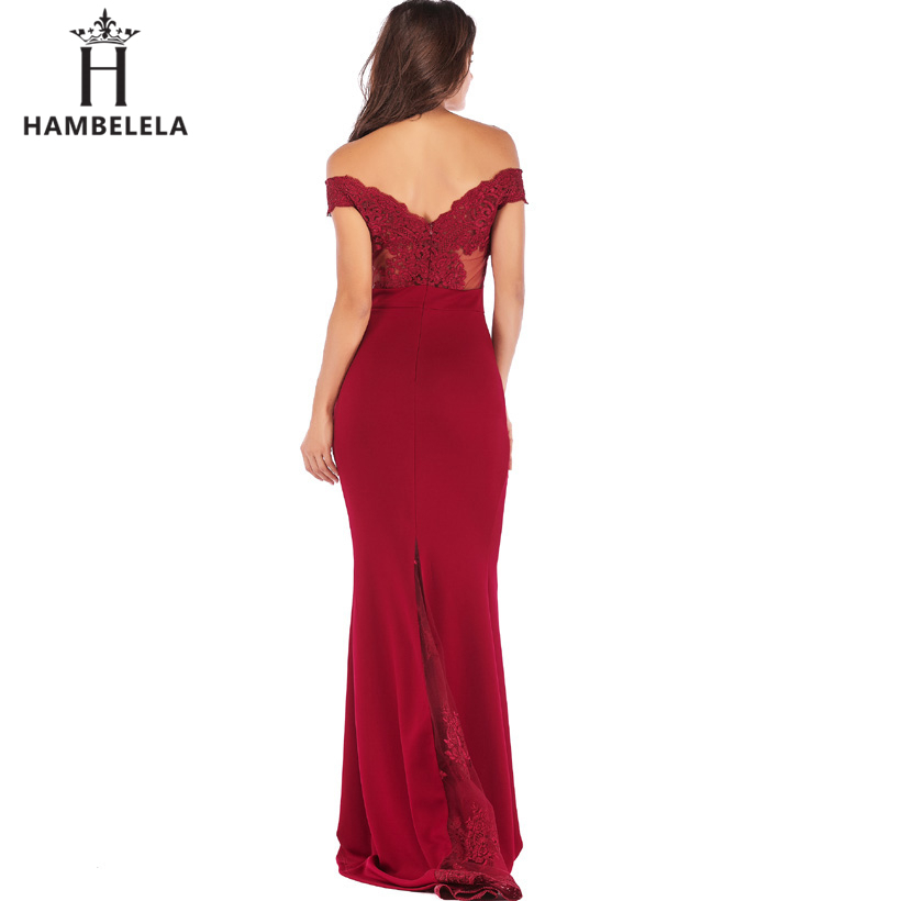 HAMBELELA Vestido De Festa Pink Black Red Mermaid Dress Lace Top Bodice Slim Long Formal Party Dress Charming Wedding Party Gown (10)
