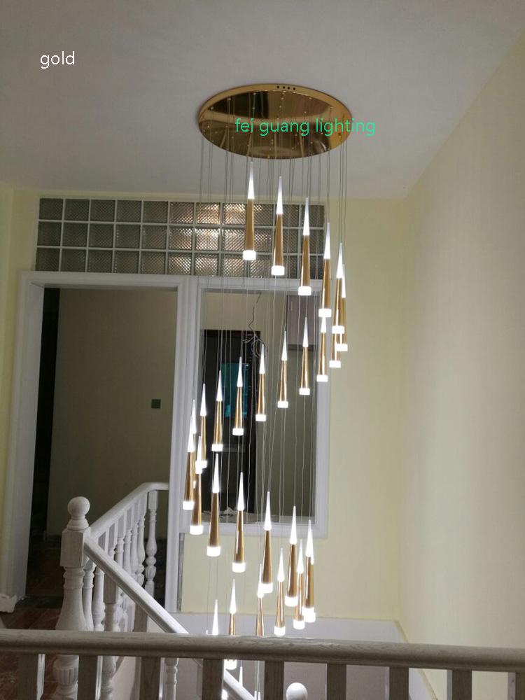 Swivel Stairs LED Pendant Lamp Modern Minimalist Staircase Lamp Long  Pendant Lights Roof Living Room Nordic Villa Lamps Silver Pendant Light  Designer