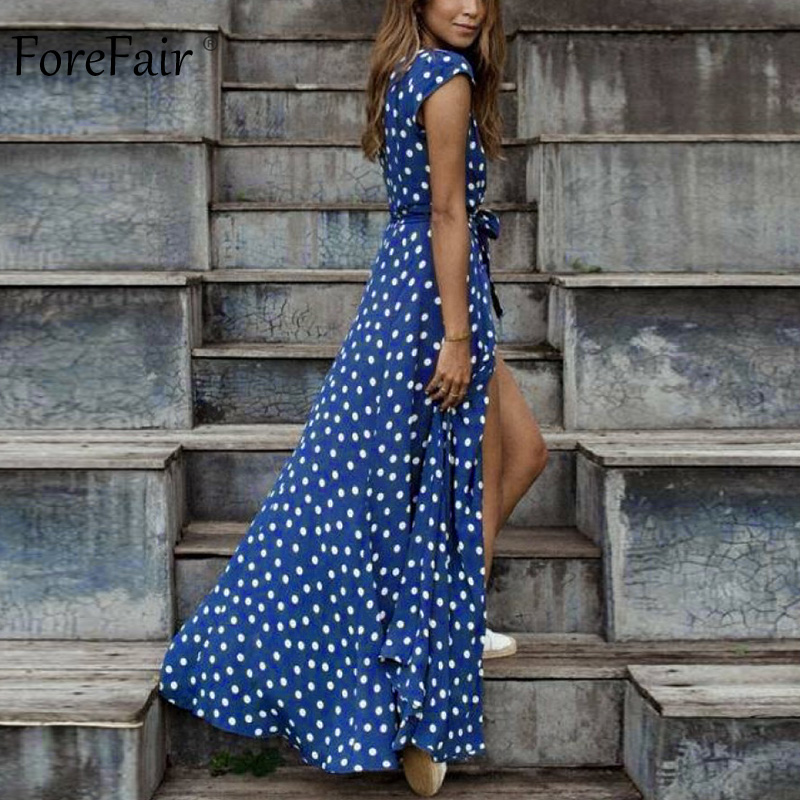 Forefair Polka Dot Dress Summer Sexy Maxi A Line Party Club (11)