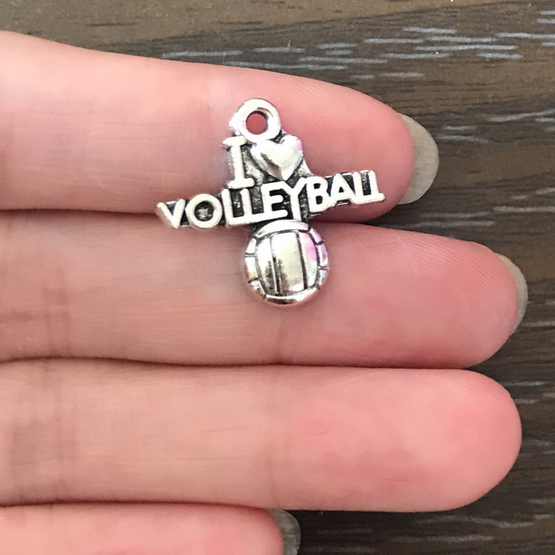 20pcs I Love Volleyball Charms silver tone volleyball charm pendants 20X21mm