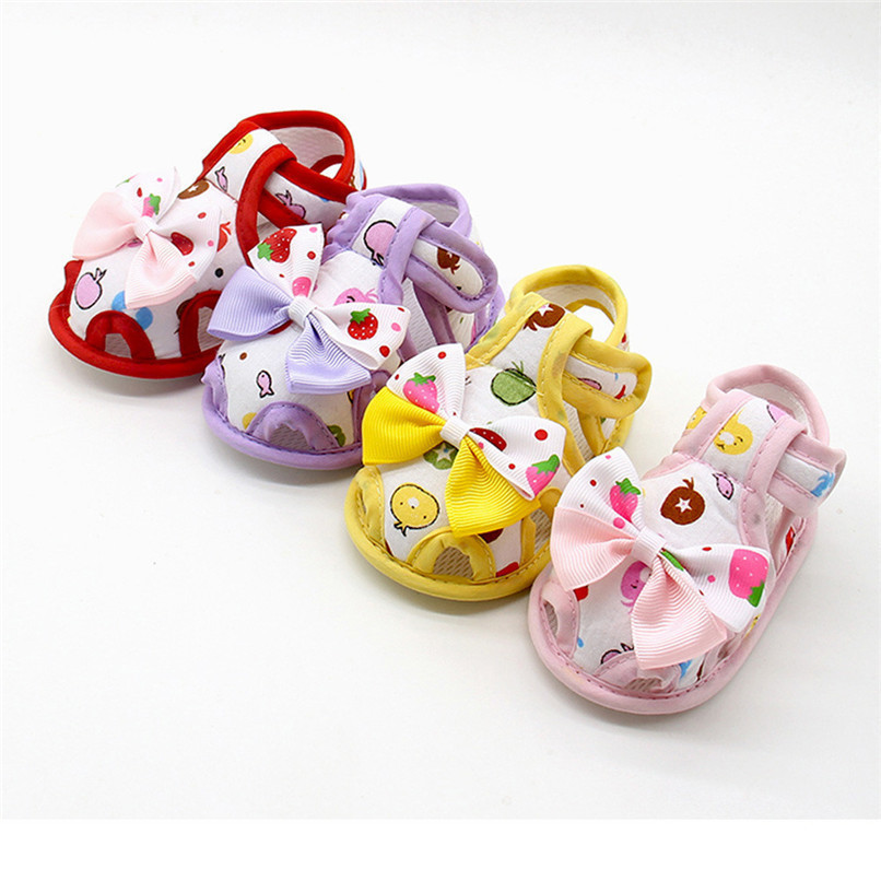 4 Color Summer Girls Shoes Newborn Infant Baby Girls Bow Print Soft Sole Toddler Anti-slip Shoes First Walker NDA84L23 (1)