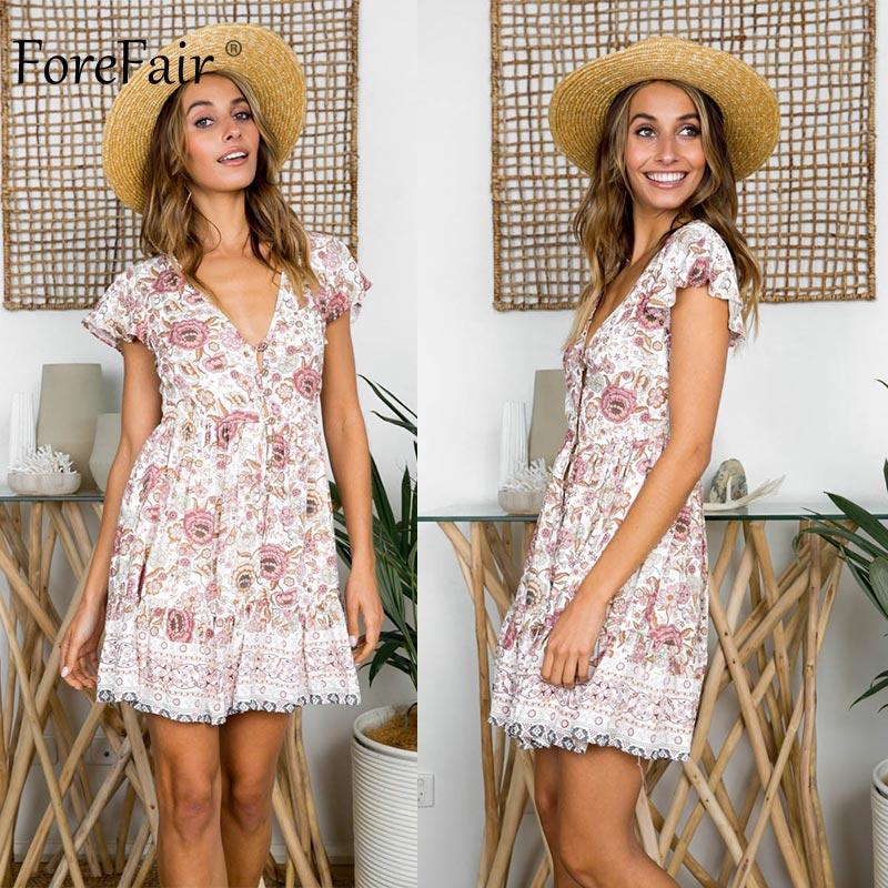Forefair Retro Boho Dress Mini Summer Sexy A Line Red Floral (1)