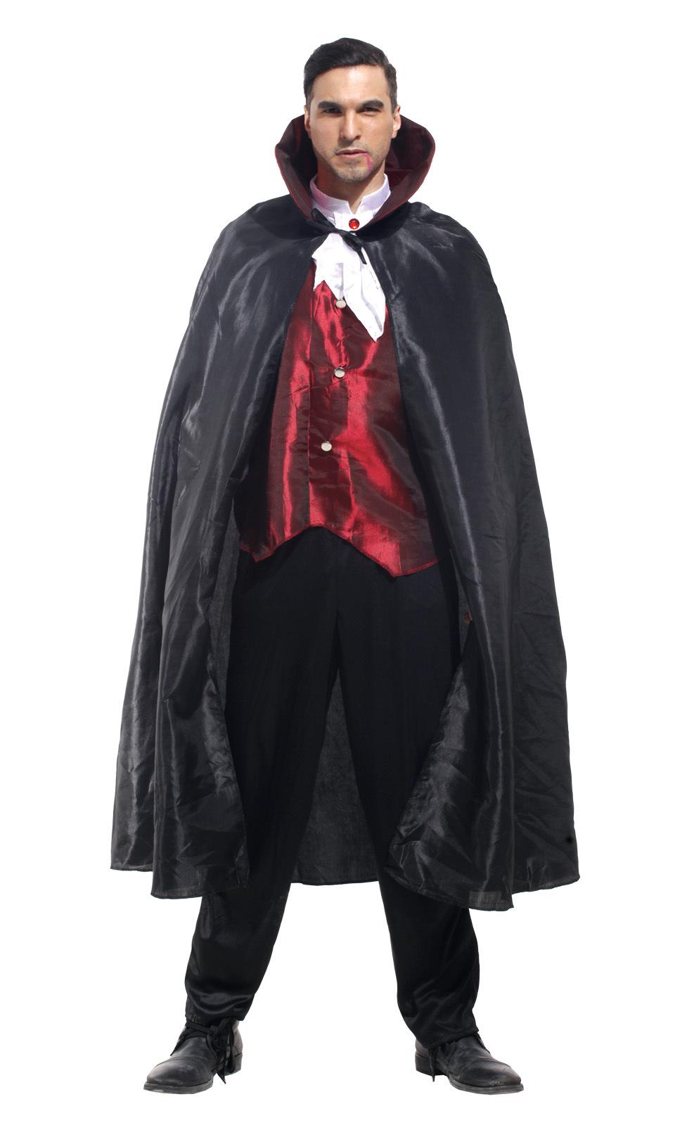 NUOVO Deluxe lungo mantello di velluto Vampiro Dracula Halloween Costume Mantello