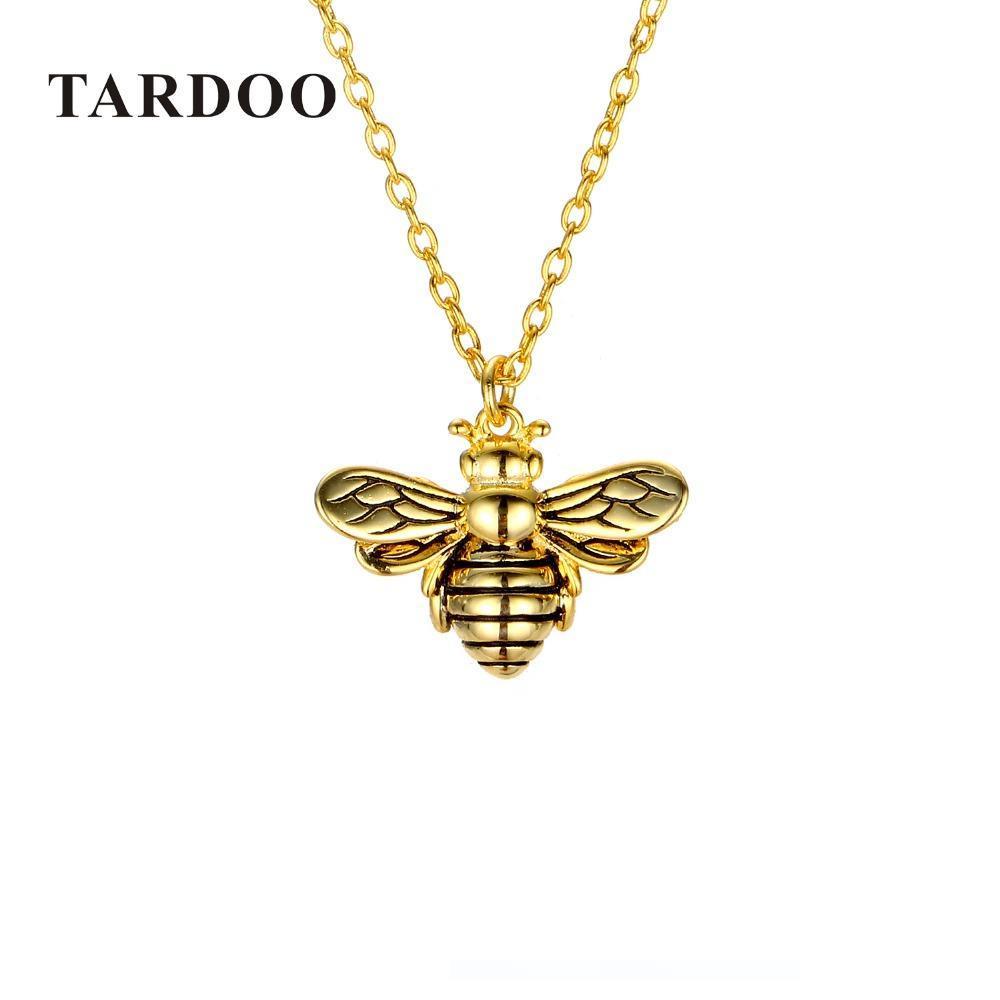 Bee Necklace Cute Honeybee Sterling Silver Charm Jewelry 925 Simple Pendant