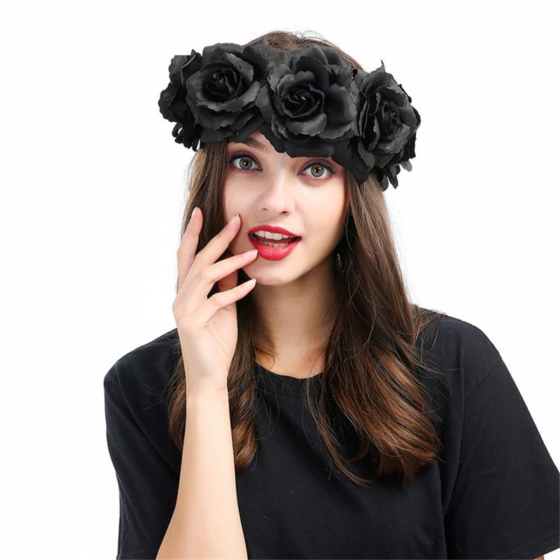 Halloween pelo clip Gothic rosa negra damas accesorio pelo joyas flor Black