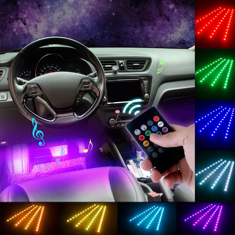 9 LED RGB Color Changing Car Interior Decorative Light Atmosphere Strip Lamp zu
