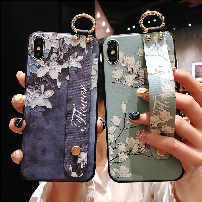 1 SoCouple Wrist Strap Phone Cases For iPhone 7 Flower Case For iPhone 6 6S 7 8 Plus X XS Max XR Matte Soft Silicone Back Cover