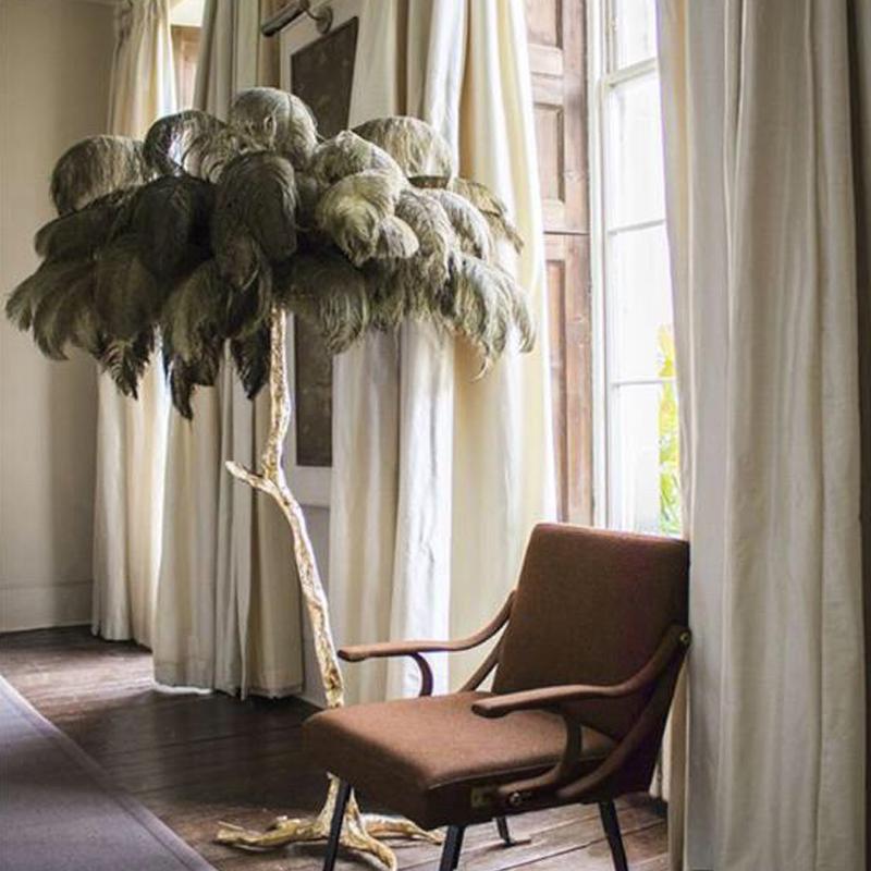 Nueva lámpara de pie de plumas de cobre salón de lujo del hotel sala de decoración de la lámpara lámpara de la boda caliente H160cm Dia120cm