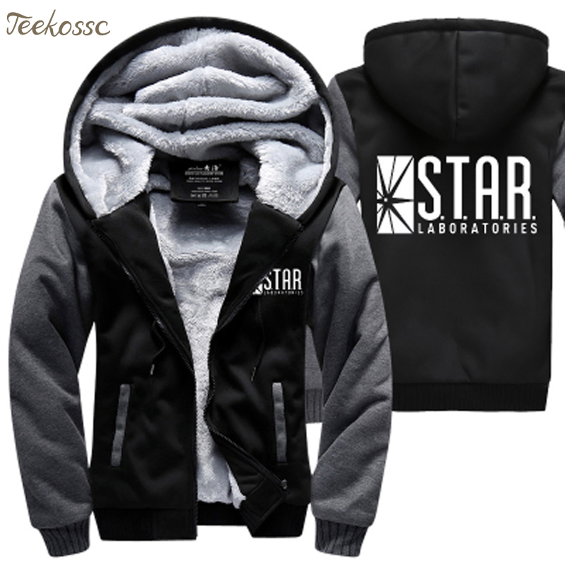 Star Lab Hoodie Sweatshirt Unisex Fleece Sweatshirt Plus Velvet Hoody Coat Jacket
