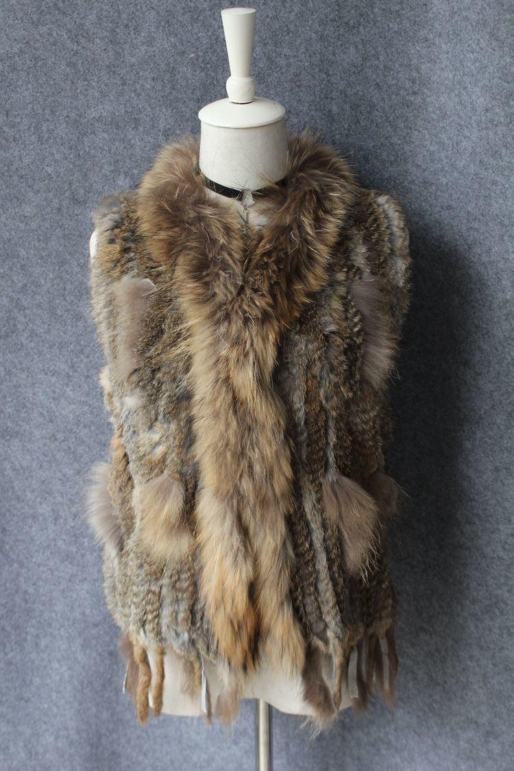 genuine real rabbit fur vest with raccoon fur collar (24)