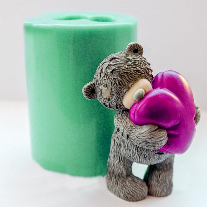 Животные Плесень 3d плюшевый мишка с сердцем мыла формы силиконовые формы для мыла плюшевый медведь формы свечи формы аромат камня формы J190722