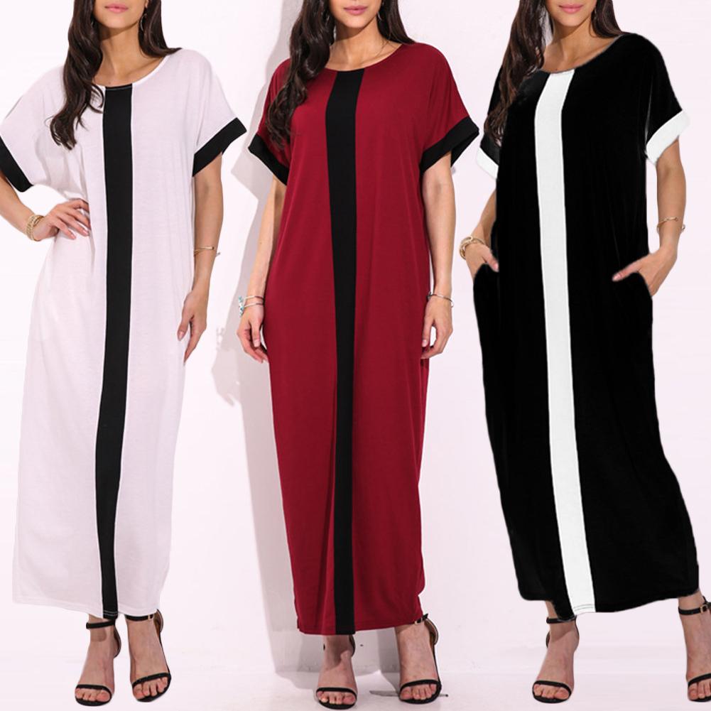 Women Plus Size 3xl 4xl 5xl Robe Dresses Contrast Panel Shirt Dress O Neck Short Sleeve Casual Loose Maxi Long Dress Summer 2019 J190529