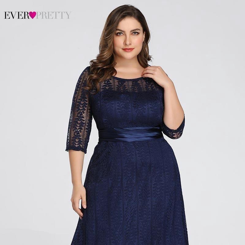 bb07244a2 Elegantes tallas grandes Vestidos de noche largos 2019 Siempre bonitos  Ep08878gy Una línea de encaje de manga media gris Vestidos de fiesta  formales para la ...