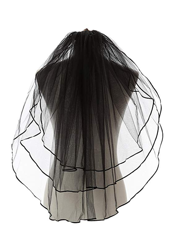 Hot Sale Black Gothic Wedding Veils Women's 3 Tiers Ribbon Edge Finger Tip Wedding Bridal Veil 11054BK Cheap Hot Sale