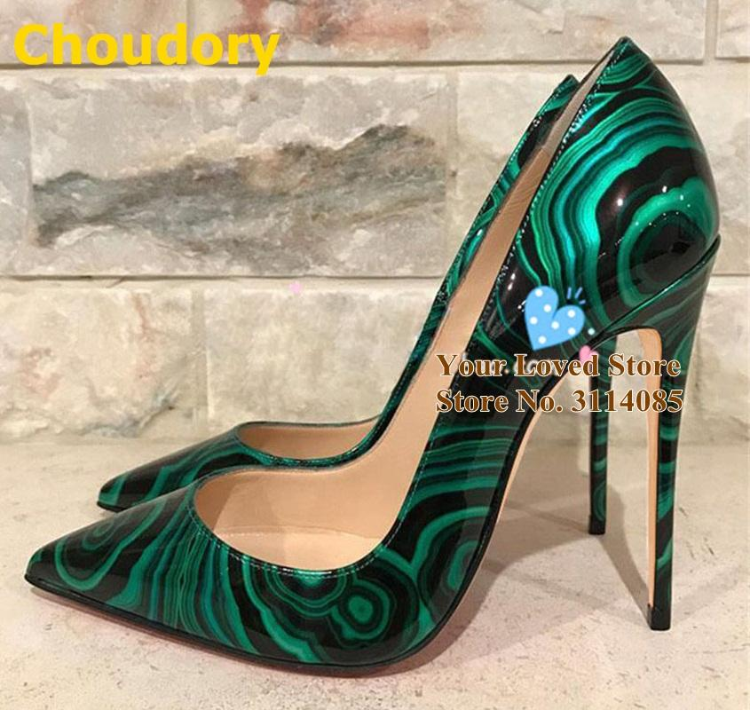 Vogue Women/'s Green Snake Pattern High Heels Stiletto Pointed Toe Shoes Slip On