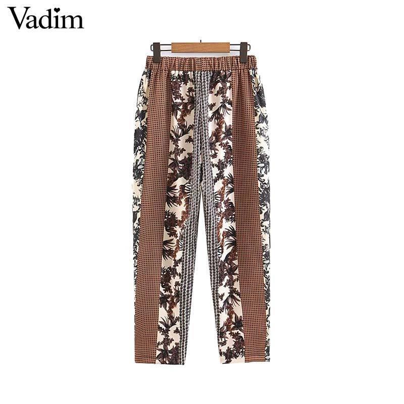 Вадим женский плед с цветочным принтом лоскутное брюки карманы на шнуровке эластичный пояс женские брюки длиной до лодыжки брюки KA992 T519053003