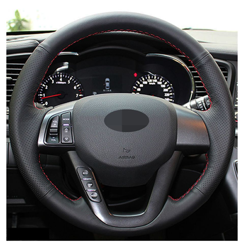 DIY Steering Wheel Cover Black Leather Hand Sewing For Kia K5 2011-2013 Optima