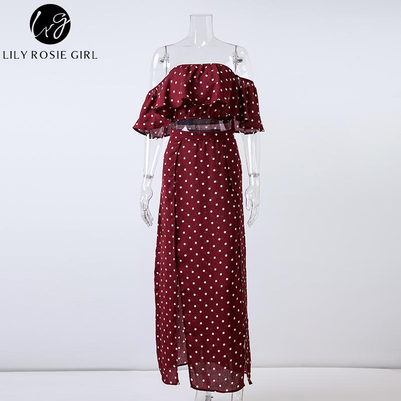 Lily Rosie Girl mujer fuera del hombro Red Dot Vintage vestido largo vestido Maxi vestido de verano de la gasa con volantes vestidos de playa Sexy Vestidos Y190516