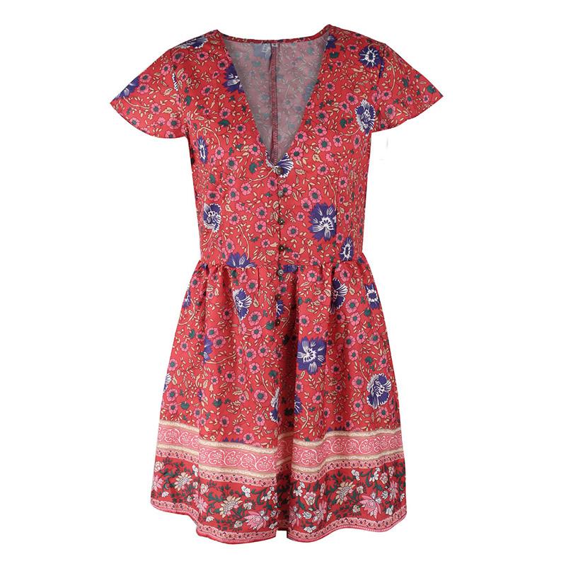 Forefair Retro Boho Dress Mini Summer (5)