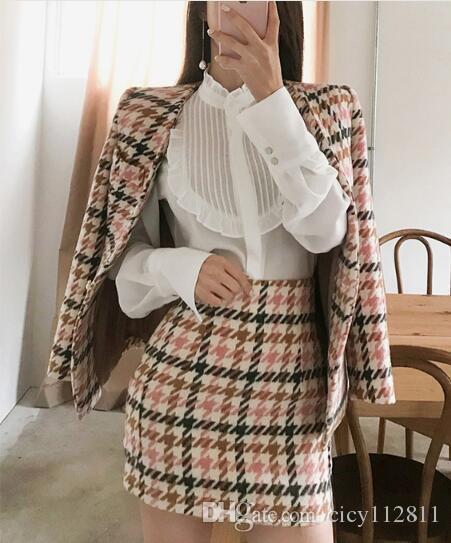 Pop2019 Versão Coreana Da Primavera De Lã Casaco Fino Saco Hip Saia Camisa Branca Terno Vestido De Três Peças