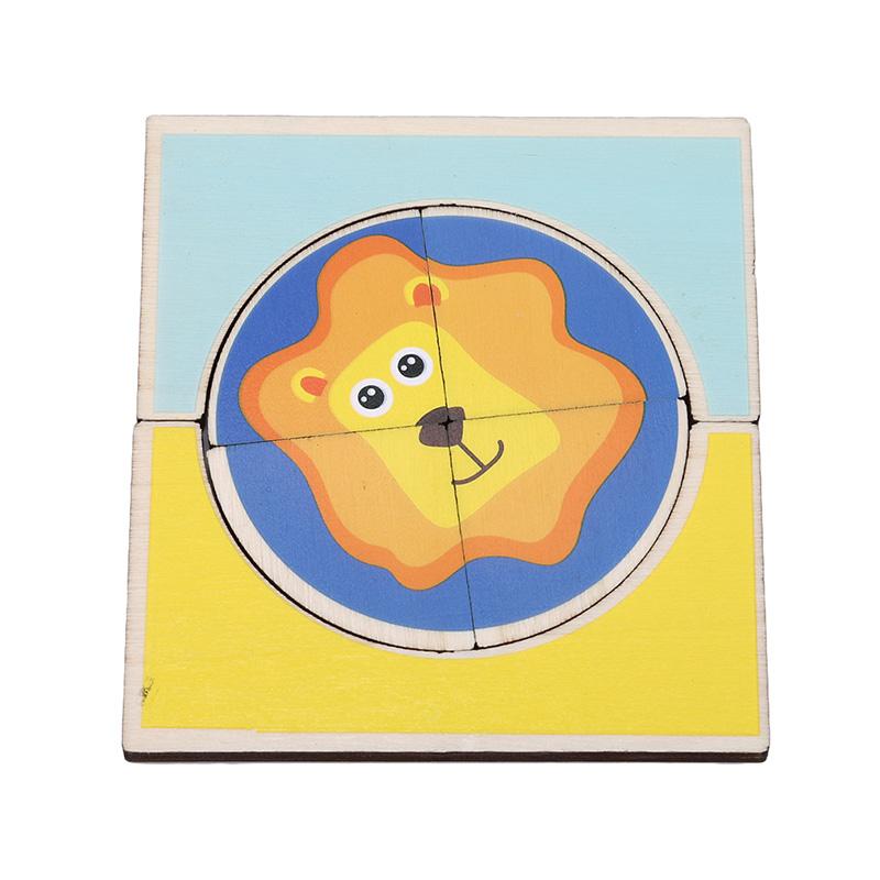 1 satz baby frühe lernspielzeug beliebte holz puzzle spielzeug cartoon tierform passenden kognitiven spiel