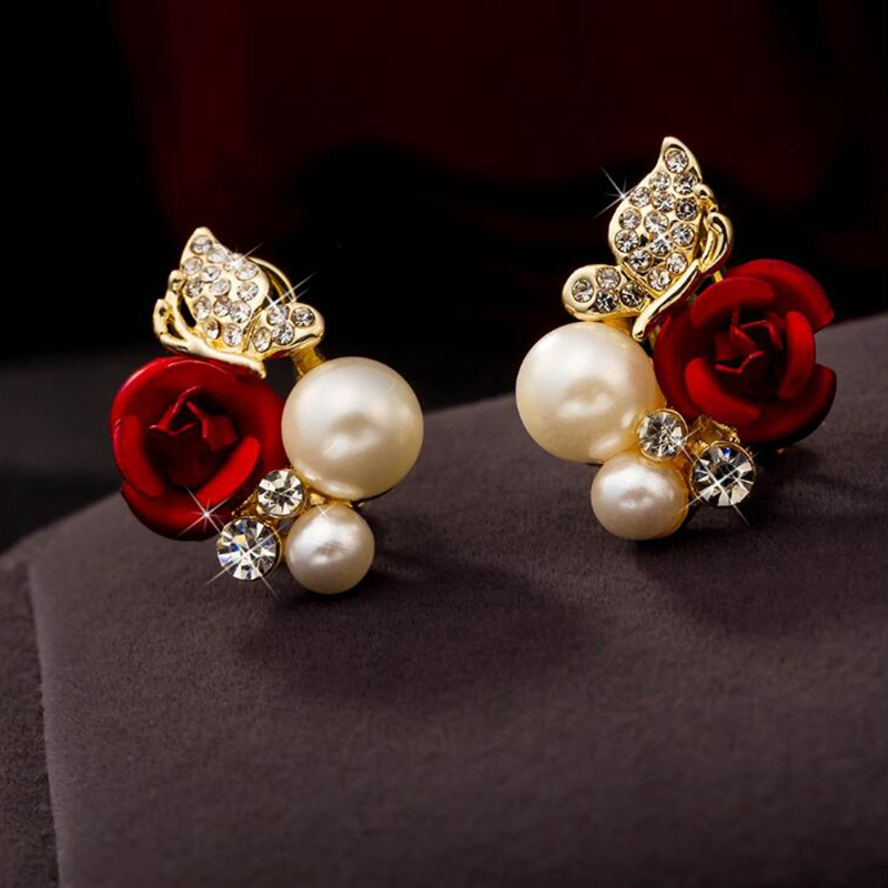 Fashion Red Rose Flower Imitation Pearl 18k Yellow Gold Plated Crystal Stud Earring for Women's Jewelry Earrings XK142