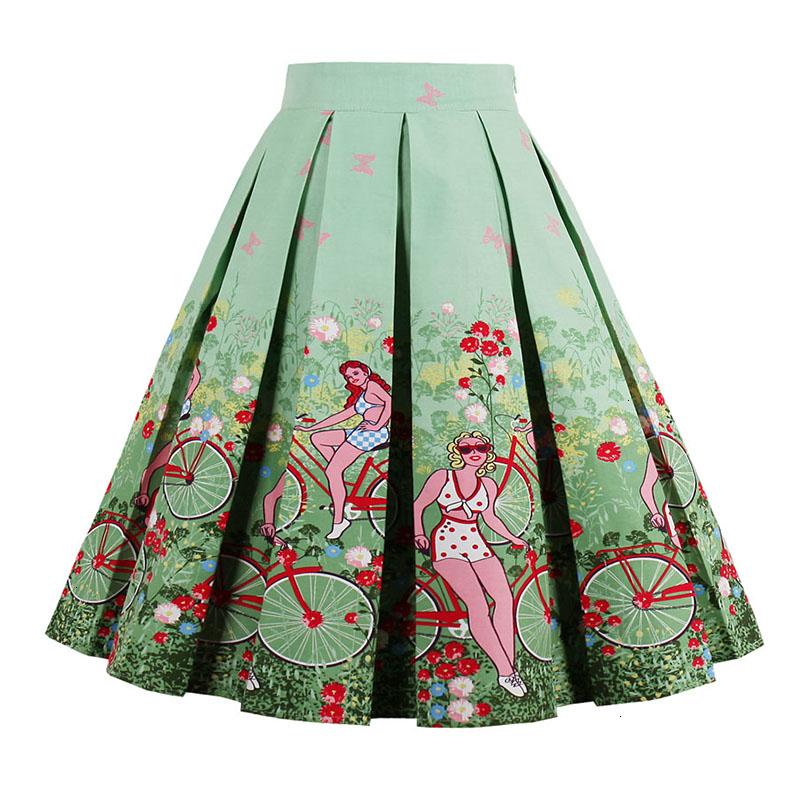 Kostlish Retro Print Flower Summer Skirts Womens High Waist Vintage Skirt Elegant A-Line Midi Women Skirt Plus Size XXL 22 (75)