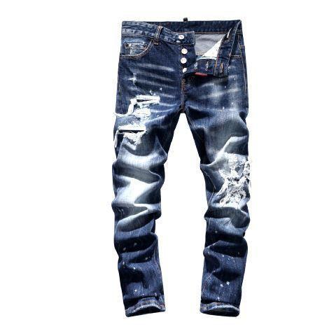 HOT Top Brand dsquared2 jeans ds2 jeans mens designer jeans hommes Denim noir Jeans Pantalon de broderie De La Mode Trous Pantalons Italie Taille 44-54