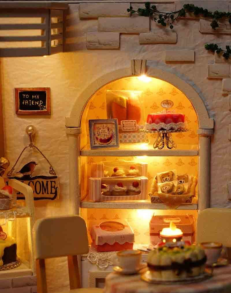 Cake Diary DIY Miniature Doll House 3D Wodden Handmade Dust Cover DollHouse Toy Miniaturas Furniture Kit Dollhouse Toys for Kids Gifts (11)