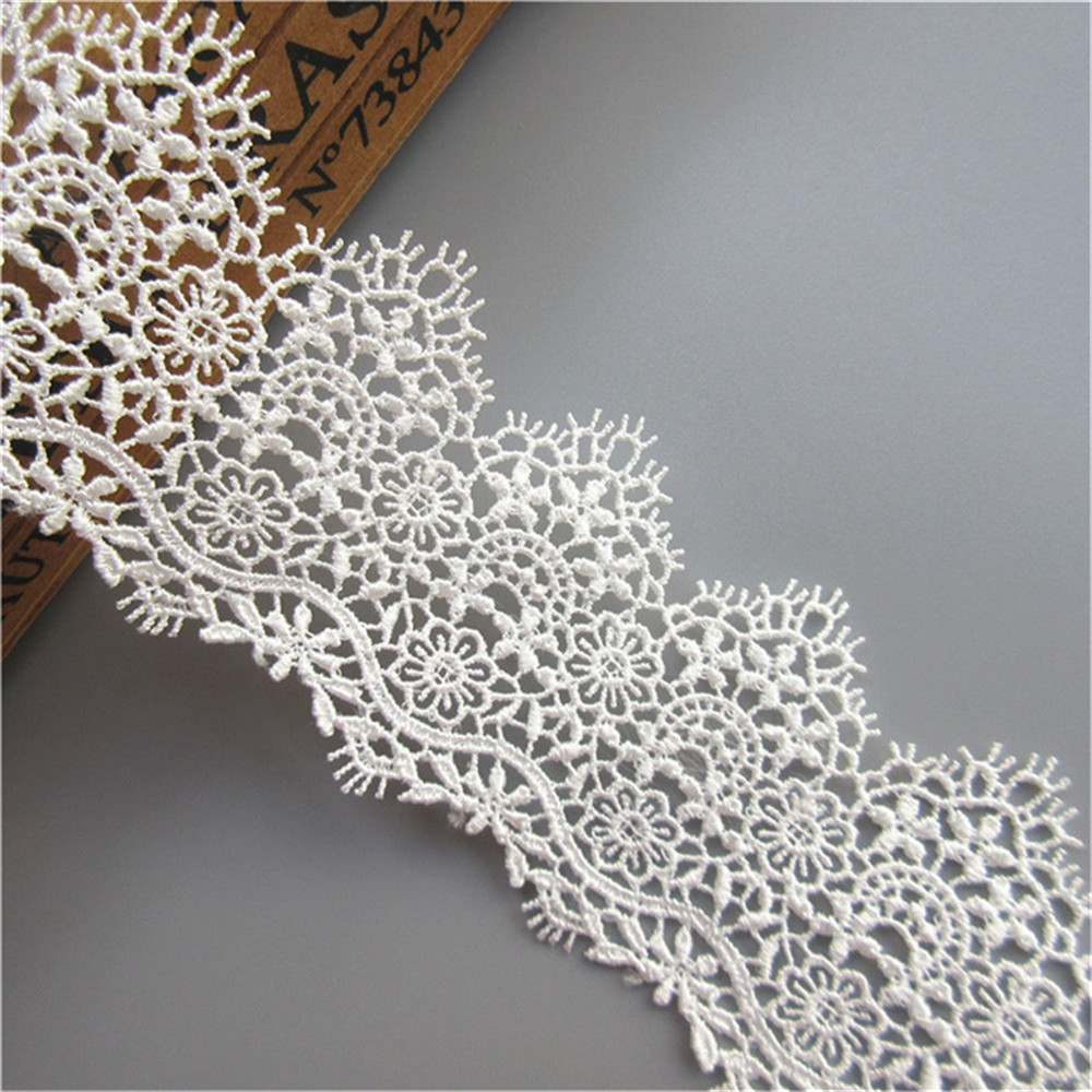 2 Yards White Cotton Crochet Net Lace Trim Rabbit Embroidery Ribbon Sewing 4cm