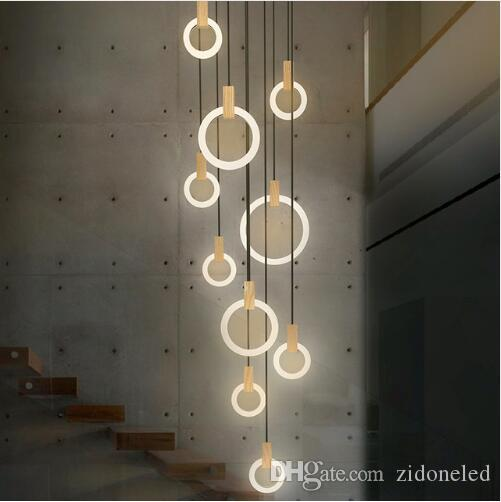 Contemporary Wood LED Chandelier Lighting Acrylic Rings Led Droplighs Stair Lighting 3/5/6/7/10 Rings Indoor Lighting Fixture