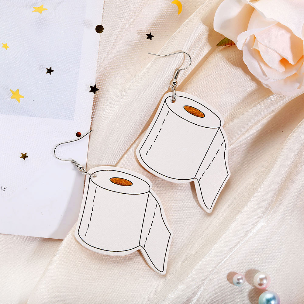 New PU Leather Toilet Paper Mask Earrings for Women Girls Unique Design Creative Personality Funny Earrings Fashion Jewelry Earrings Gifts