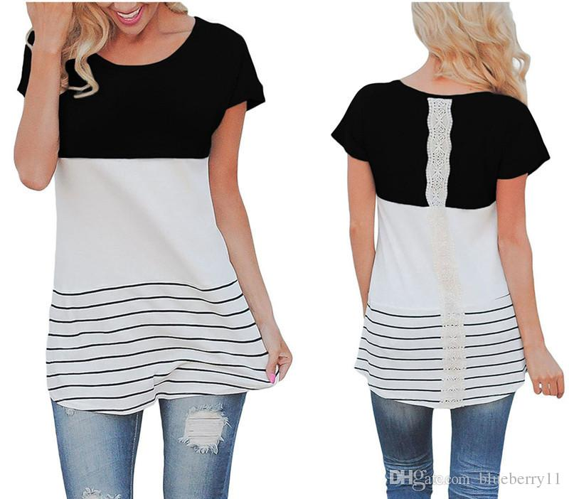 women clothing T-Shirts Lady O-Neck Black Long Sleeve Contrast Color striped Lace Patchwork Tunic Tops female t-shirt